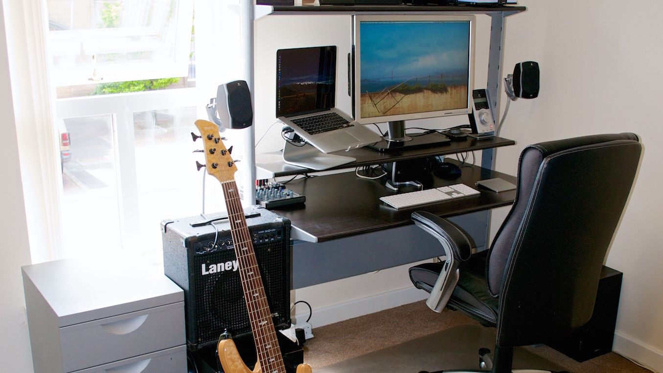 Home office with guitar